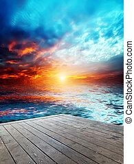 na, zachód słońca, jezioro