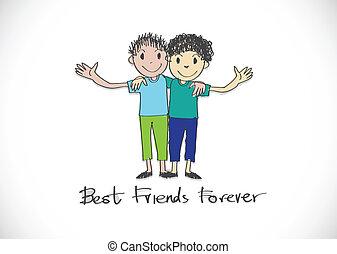 na zawsze, przyjaźń, idea, projektować, przyjaciele, dzień, ...