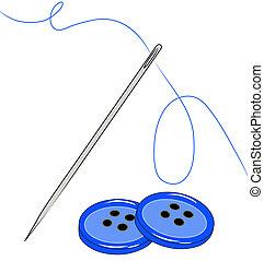 naaiende naald, en, draad, met, knopen