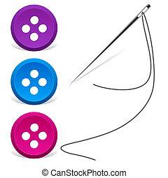 naaiende naald, en, draad, met, knopen, -, vector