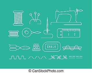 naaiwerk, gereedschap, iconen