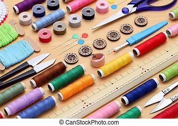naaiwerk, gereedschap, kleermakerswerk, en mode, concept