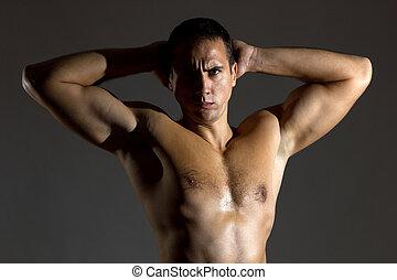 naakt, kerel, torso