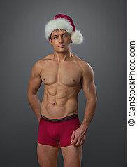 naakt, mannelijke , in, kerstman, pet