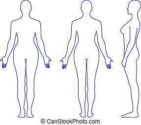 naakt, staand, vrouw, silhouette