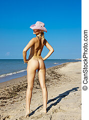 naakt, strand., vrouw, jonge