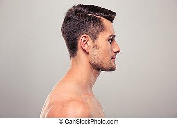 naakte , jonge, verticaal, aanzicht, torso, bovenkant, man