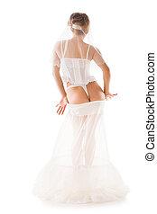 naakte vrouw, in, een, bikini