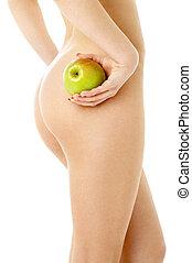 naakte vrouw, met, groene appel