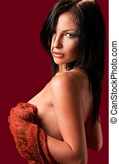 naakte vrouw, weefsel, vasthouden