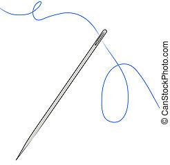 naald, met, blauwe , draad, strung, door