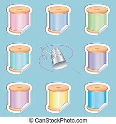 naald, vingerhoed, draden, stickers