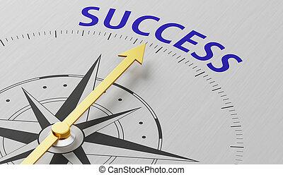 naald, woord, wijzende, succes, kompas