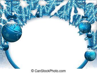 naalden, baubles, achtergrond, kerstmis