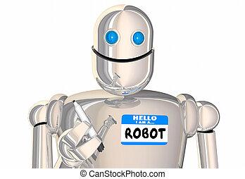 naam, ai, intelligentie, bot, robot, kunstmatig, label, illustratie, android, hallo, 3d