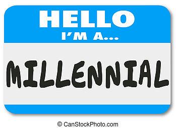 naam, duizendjarig, sticker, label, woorden, ik ben, hallo