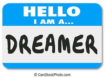 naam, groot, sticker, creativiteit, verbeelding, denker, label, hallo, dromer