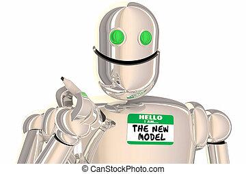 naam, moderne, update, illustratie, robot, label, nieuw model, 3d