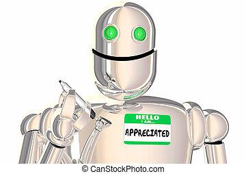 naam, robot, illustratie, hallo, label, gewaardeerde, erkenning, 3d