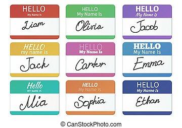 naam, set., label, vector, mijn, hallo