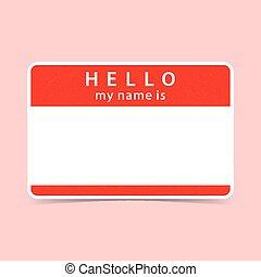 naam, sticker, label, leeg, hallo, rood