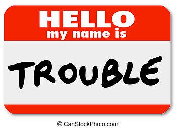 naam, sticker, nametag, onrust, mijn, hallo
