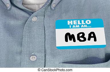 naam, zakelijk, administratiekantoor, mba, illustratie, label, meester, hallo, 3d