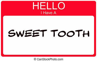 naam, zoete tand, label, hebben, hallo, rood