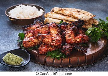 naan, pilau, poulet, indien, ail, servi, tandoori, riz, ailes