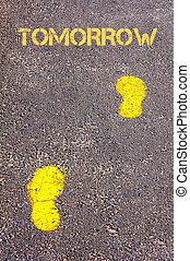naar, gele, morgen, boodschap, voetsporen, trottoir