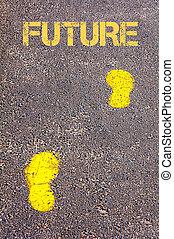 naar, gele, toekomst, boodschap, voetsporen, trottoir