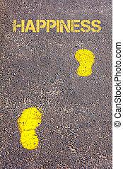 naar, gele, trottoir, voetsporen, boodschap, geluk