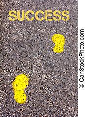 naar, succes, gele, boodschap, voetsporen, trottoir