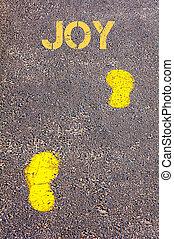 naar, vreugde, gele, trottoir, voetsporen, boodschap