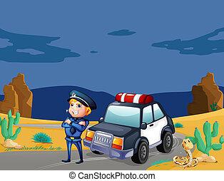 naast, auto, het glimlachen, patrouille, politieagent