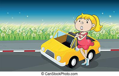 naast, auto vrouw