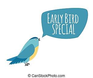 nabídnout, concept., bubble., ilustrace, časný, vektor, řeč, podpora, ptáček, speciální