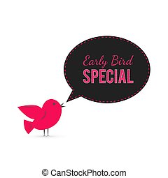 nabídnout, speciální, řeč, banner., šikovný, prodej, marketing., případ, společenský, časný, bubble., ptáček, střední jakost, karikatura, rabat, poster., nebo, announcement., řemeslo