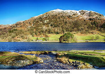 Nab Scar and Rydal Water on a sunny day. - Snow capped Nab ...