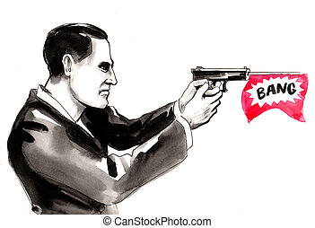 Nab with a gun - Ink and watercolor drawing of a man with ...
