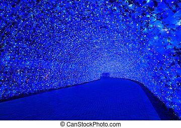 Nabana no Sato garden at night Nagoya. - Nagoya, Japan. ...