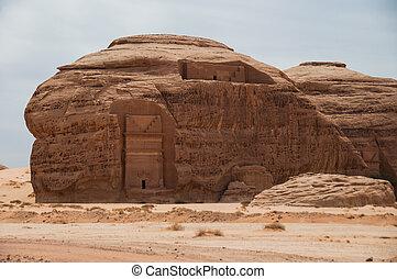 nabatean, sitio arqueológico, saudí, saleh, arabia, tumba,...