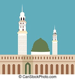 nabawi, madina, meczet, kopuła, minaret, cześć, islam