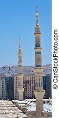 nabawi, meczet, dwa, minarety