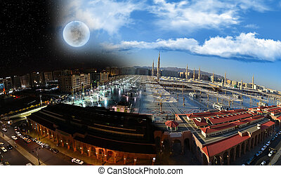 nabawi, meczet, medyna, noc