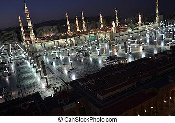 nabawi, meczet, medyna, zmierzch
