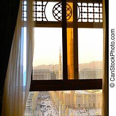 nabawi, meczet, okno
