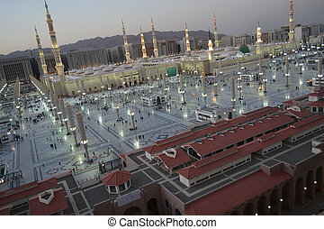 Nabawi - Prophet's -Mosque in Medina at morning time