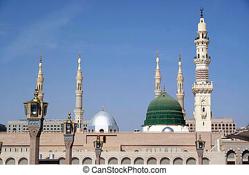 Masjid Al Nabawi or Nabawi Mosque (Mosque of the Prophet) in Medina (City of Lights), Saudi Arabia. Nabawi mosque is Islam's second holiest mosque after Haram Mosque (in Mecca, Saudi Arabia).