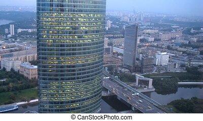naberezhnaya, bureau, ville, paysage, complexe, tour, devant...